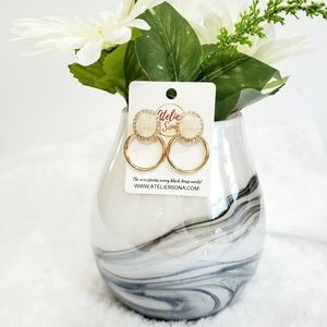 Druzy Hoop Earrings Gold/White